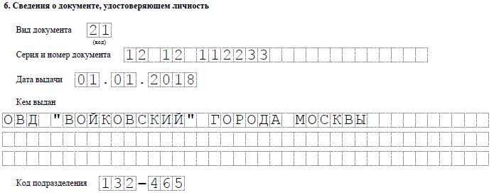 Пример заполнения раздела 6 формы Р21001