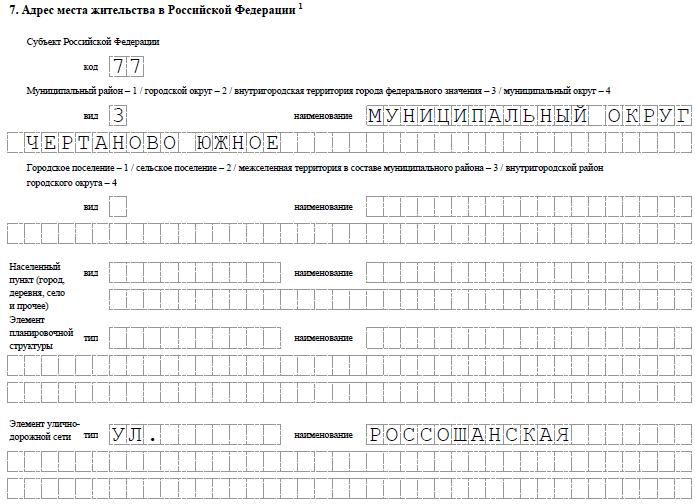 Пример заполнения раздела 7 формы Р21001, субъект РФ, район, населенный пункт, улица