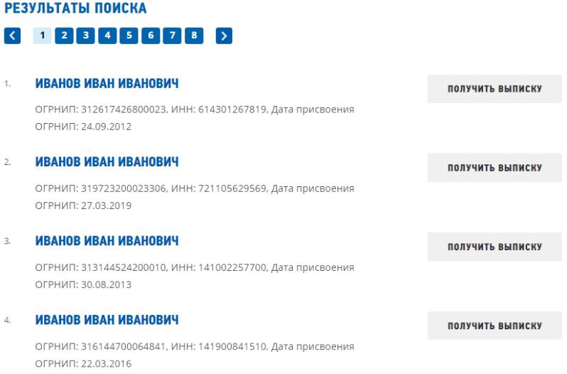 Результат поиска сведений в ЕГРЮЛ/ЕГРИП по ФИО на сайте ФНС