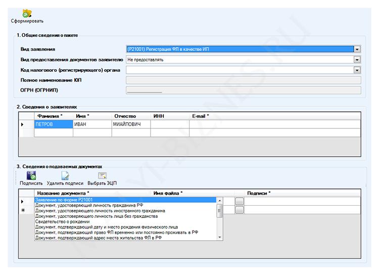 Программа налоговой для регистрации ип бланк налоговая декларация по ндфл пример
