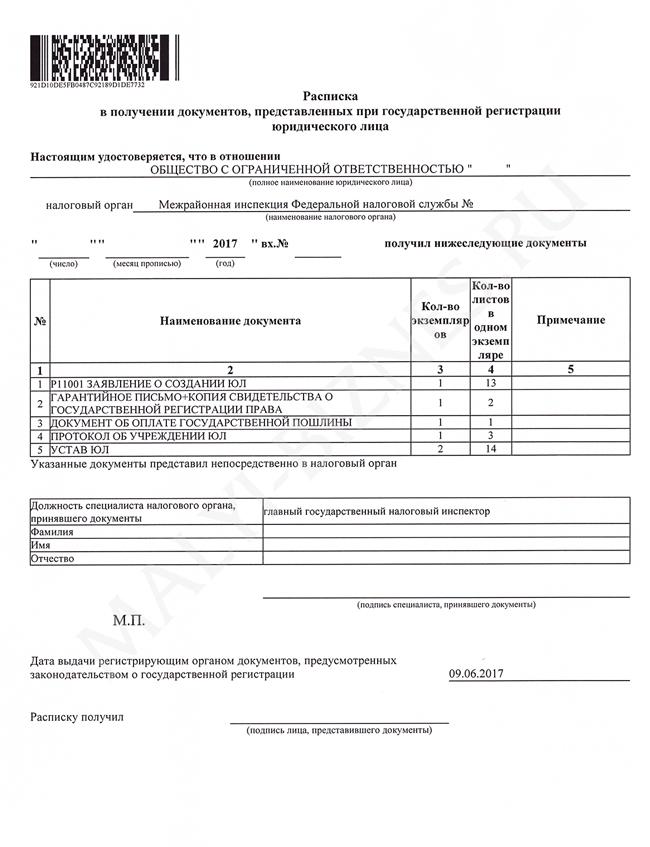 Документы выдаваемые ооо при регистрации документы необходимые для регистрации ооо с одним участником