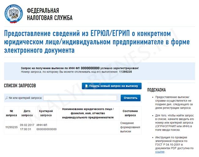 получить выписку из егрип налоговая официальный сайт